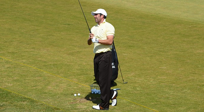 Jose Maria Olazabal hits on the range at Castle Stuart ahead of this week's Scottish Open.
