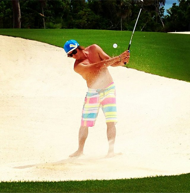 Rickie Fowler posted this photo on Instagram showing off his Volcom board shorts.