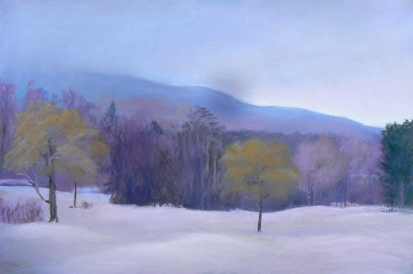 "Mallory Rich (www.malloryrich.com), Golf Course in Winter, pastel, 18"" x 24"". All rights reserved. Do not reproduce without the artist's permission."