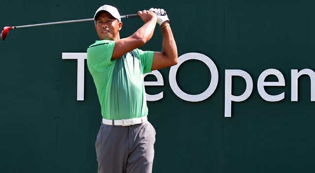 Tiger Woods played nine holes at Muirfield on Sunday.
