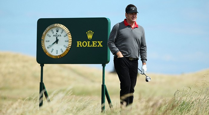 Sir Nick Faldo plays a practice round ahead of the 2013 Open Championship at Muirfield.