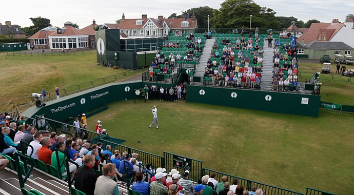 Lloyd Saltman had to hit three tee balls off the first tee after finding out-of-bounds on the right twice. He would make a quadruple-bogey on the hole in the first round at Muirfield.
