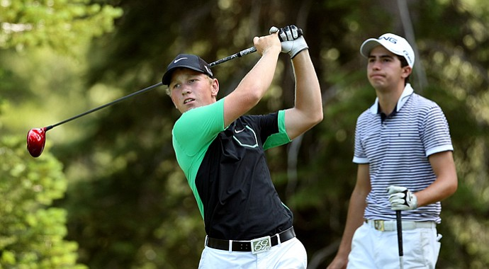 Brad Dalke hits his tee shot at No. 12 playing against Alvaro Ortiz during the Round of 64 at the 66th U. S. Junior Amateur Championship. Dalke won 4 and 3.