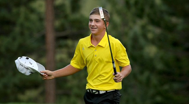 John Augenstein walks off the green after defeating Brian Carlson 1 up during the Round of 16 at the 66th U. S. Junior Amateur Championship. Augenstein defeated Jim Liu in the earlier Round of 32.