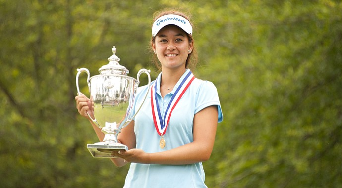 Gabriella Then poses with the U.S. Girls' Junior trophy. Then defeated Lakareber Abe, 2 and 1, in the 36-hole final.