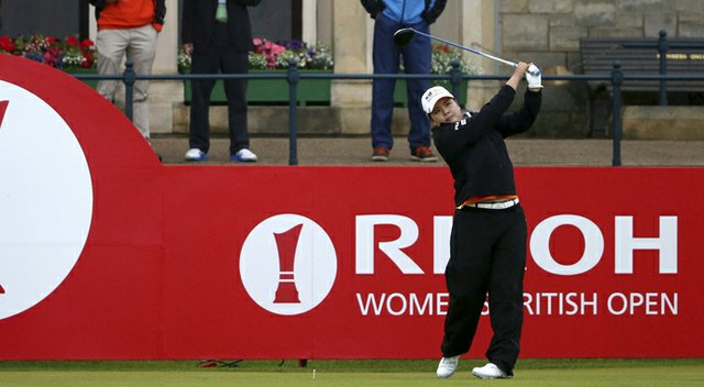 Inbee Park tees off at the Ricoh Women's British Open.