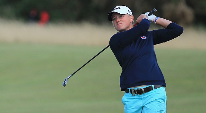 Stacy Lewis hits an approach during the final round of the Ricoh Women's British Open.
