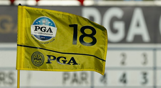 The flag on the18th hole is seen during a practice round prior to the start of the 95th PGA Championship at Oak Hill Country Club.