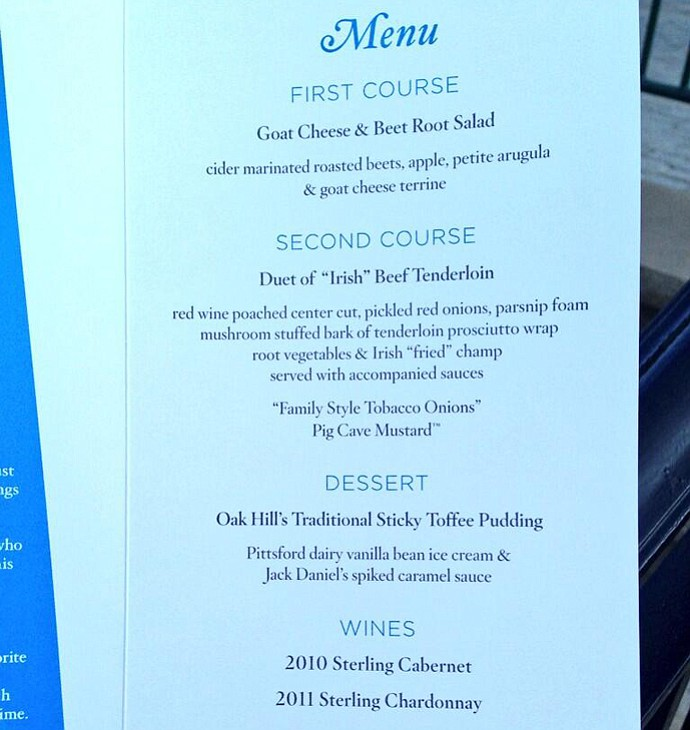 The PGA Championship Champions Dinner menu.