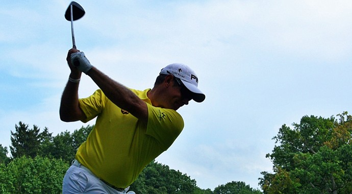 Lee Westwood hits his tee shot on the 12th hole during the first round of the 95th PGA Championship in Rochester, N.Y.