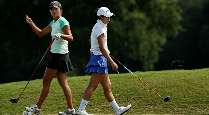 Annie Park, left, and Kelly Shon, both from Long Island, faced off Thursday afternoon in the Round of 16 at the U.S. Women's Amateur.