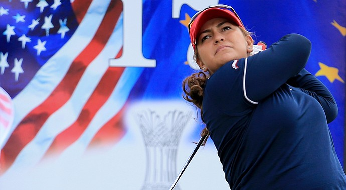 Lizette Salas of the U.S. during practice for the 2013 Solheim Cup at The Colorado Golf Club.