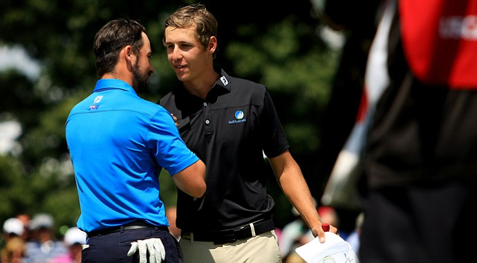 Oliver Goss defeated friend and fellow Australian teammate Brady Watt during the semifinals at the 2013 U. S. Amateur at The Country Club.