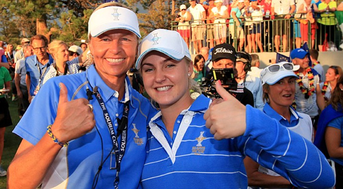 Charley Hull (right) with European Solheim Cup captain Liselotte Neumann.