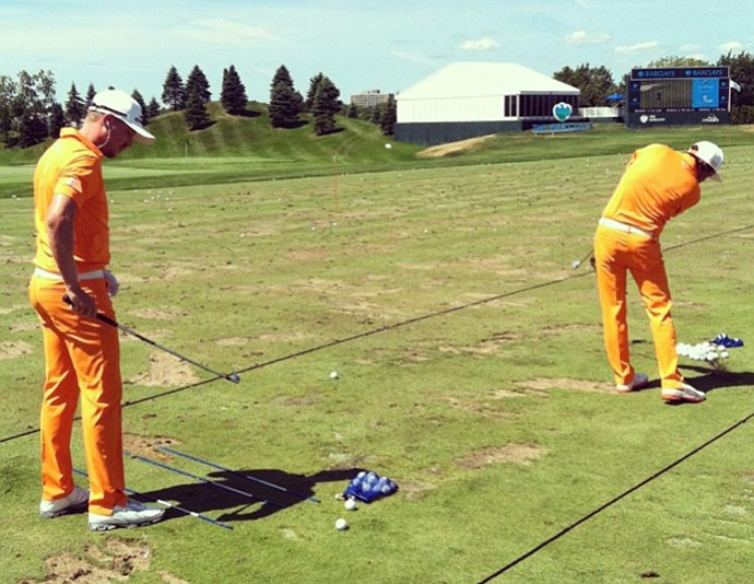 Jonas Blixt (left) and Rickie Fowler on the range before Sunday's round at the Barclays.