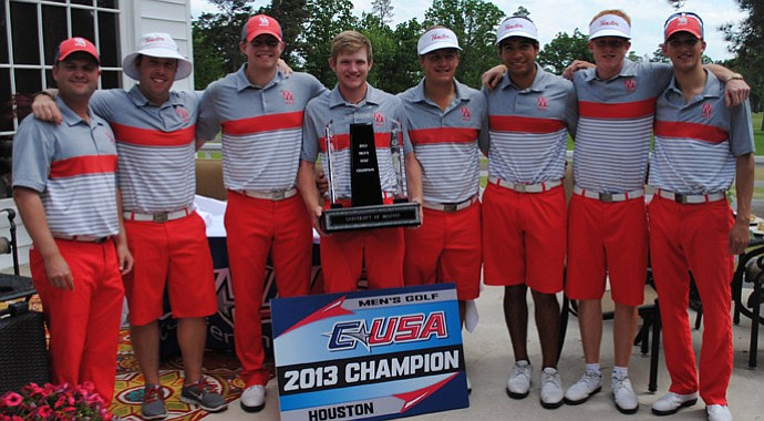 Houston's men's team after winning the Conference USA title on April 23.