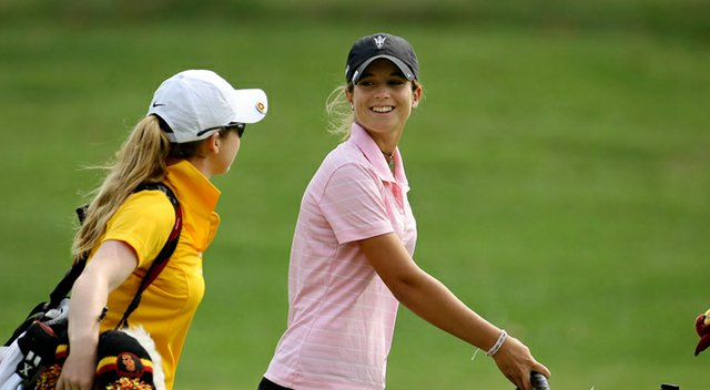 Arizona State's Noemi Jimenez (right) talks with USC's Rachel Morris during the 2013 NCAA Championship.