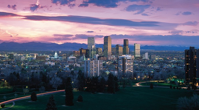 The beautiful Denver skyline as night falls.