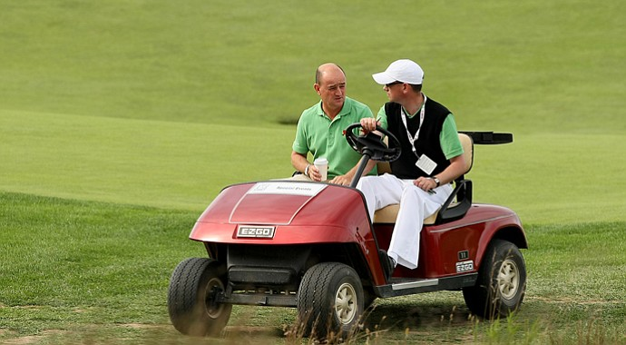 Nigel Edwards, left, returned to National Golf Links on Thursday.