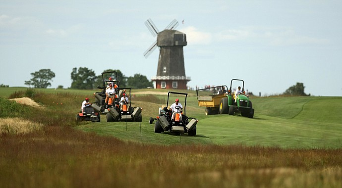Course preparation during the 2013 Walker Cup at National Golf Links of America in Southampton, N.Y.