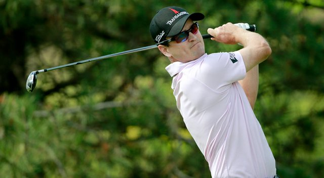 Zach Johnson hits off the 15th tee during the final round of the BMW Championship at Conway Farms.