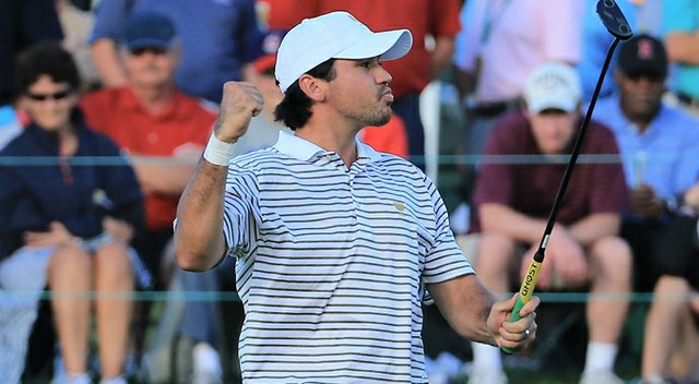 Jason Day buried a birdie bomb on No. 18 to win his match on Thursday.