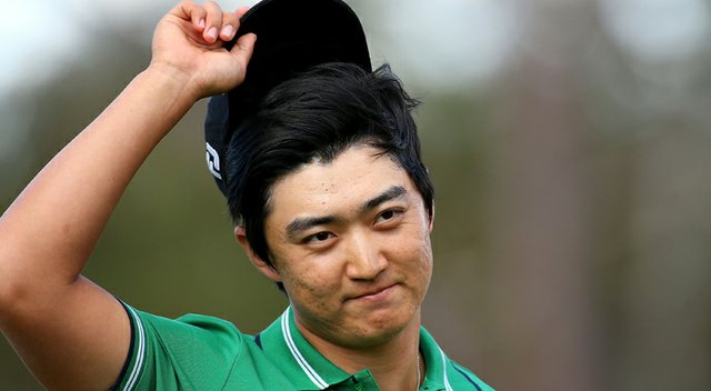 Jin Jeong celebrates on the 18th hole after winning a playoff over Ross Fisher to win the Perth International.