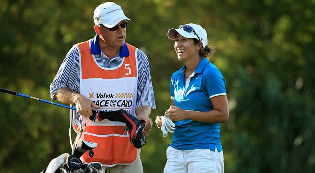 Marina Alex with her dad (and caddie) Steve at the Symetra Tour Championship.