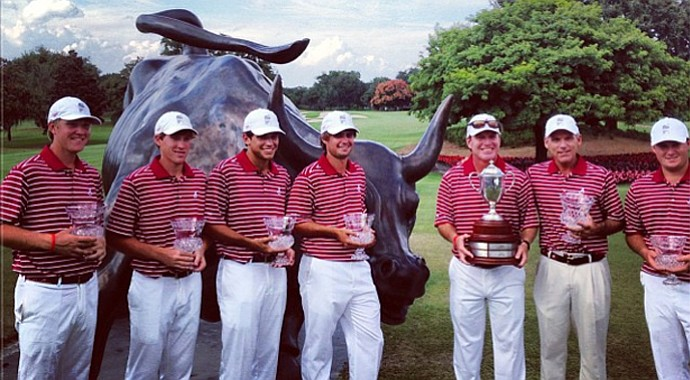 Alabama celebrates its 12-shot victory at the 2013 Isleworth Collegiate Invitational on Tuesday in Lake Nona, Fla.