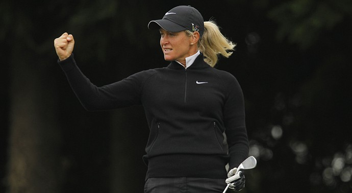 Suzann Pettersen made a hole-in-one and shot a 3-under 69 Friday, to jump out to a five-stroke lead after the second day of play at the LPGA Championship in Taiwan.