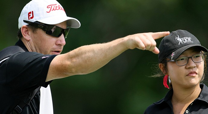 Lydia Ko, right, with caddie Guy Wilson during Round 2 of the U.S. Women's Amateur.