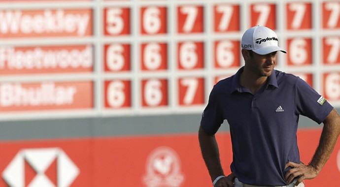 Dustin Johnson leads the HSBC Champions by five shots through 36 holes.