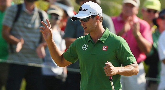 Adam Scott took advantage of easier morning conditions Friday to shoot a 4-under 67 and take a two-stroke lead after two rounds of the Australian PGA championship.