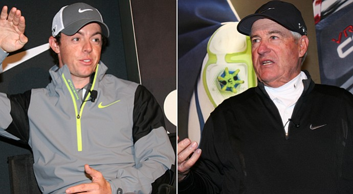 Rory McIlroy (left) and Dave Stockton talked plenty of putting while at a Nike Golf event in Las Vegas.