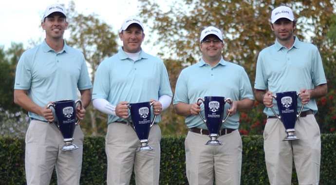 Taylormade's winning team at the Industry Cup, including from left: Frank Firman, Greg Cesario, Pete Roberts and Joe Ryon. They won by four strokes after a score of 312 over the 36-hole competition at Oak Creek GC in Irvine, Calif.