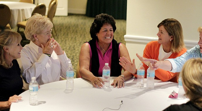 Jan Stephenson, Pat Bradley, Nancy Lopez, Beth Daniel and JoAnne Carner (far right) during Golfweek's Legends Roundtable at Innisbrook.