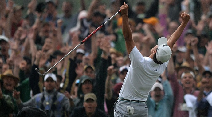 Adam Scott celebrates his win on the 10th hole during a playoff with Angel Cabrera at the 2013 Masters.