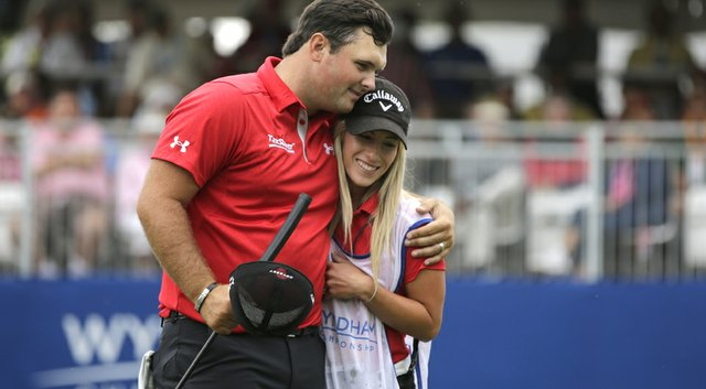 Patrick Reed and Justine Reed celebrate their victory at the Wyndham Championship, one of 44 events she was on her husband's bag. She is taking time off with the couple's first child expected to be born in May.