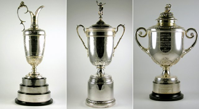 From left, trophies from the Open Championship, U.S. Open and PGA Championship.