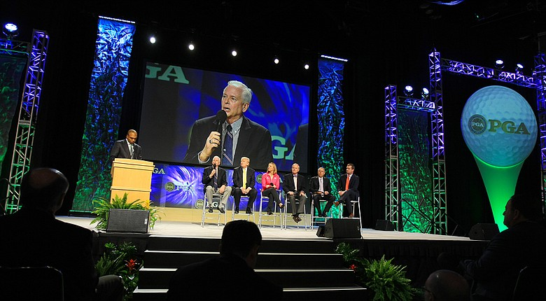 PGA President, Ted Bishop, during the State of the Industry Panel discussion at the 2014 PGA Merchandise Show at the Orange County Convention Center.