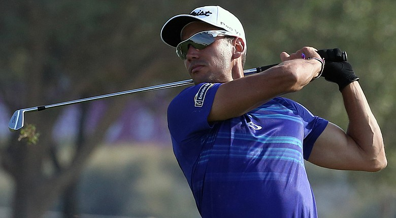Rafa Cabrera-Bello plays a shot during the third round of the Commercial Bank Qatar Masters.