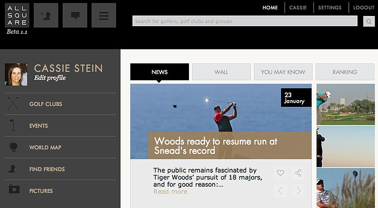 All Square is attempting to be the new social network made exclusively for golfers, with a website in beta and a new iPhone app launched this week at the PGA Show.