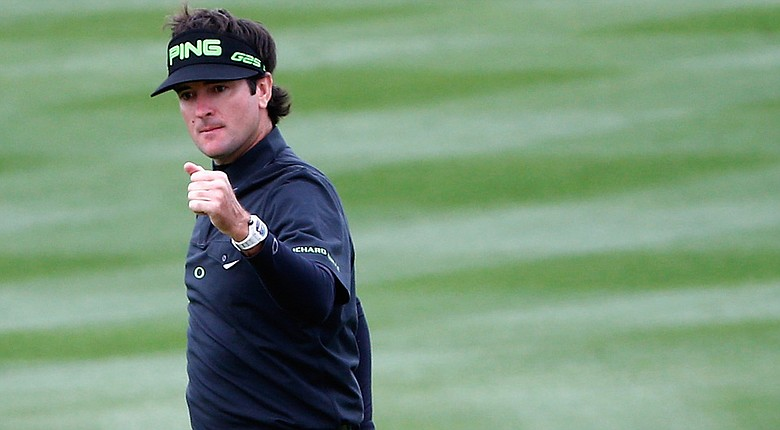 Bubba Watson reacts to making a birdie on the 8th hole during the second round of the Waste Management Phoenix Open at TPC Scottsdale.