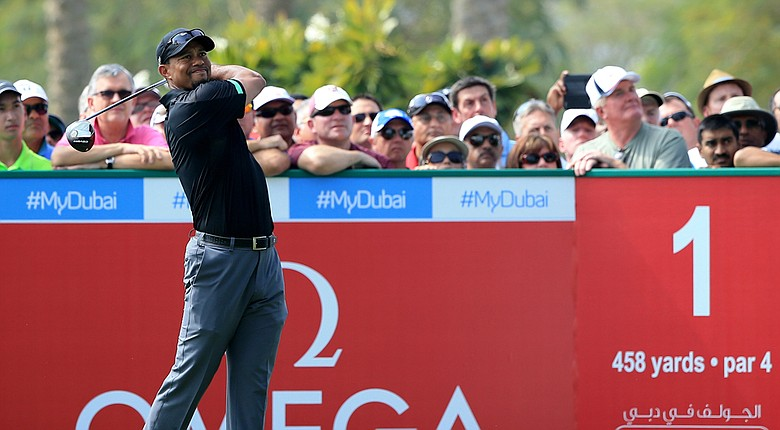 Tiger Woods in action during the second round of the Omega Dubai Desert Classic.