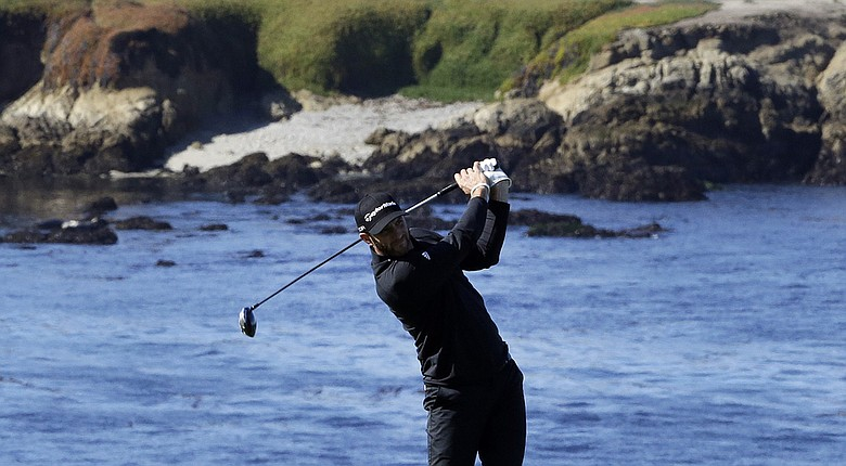 Dustin Johnson during the first round at PGA Tour's 2014 AT&T Pebble Beach (Calif.) National Pro-Am.