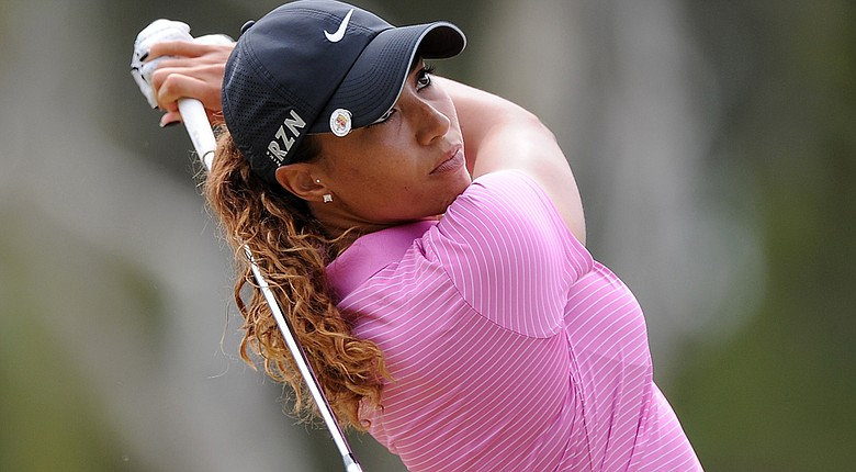 Cheyenne Woods tees off during the second round of the Australian Ladies Masters.