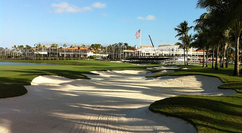 The 18th hole of The Blue Monster course at Trump National Doral Miami after Gil Hanse's renovations.