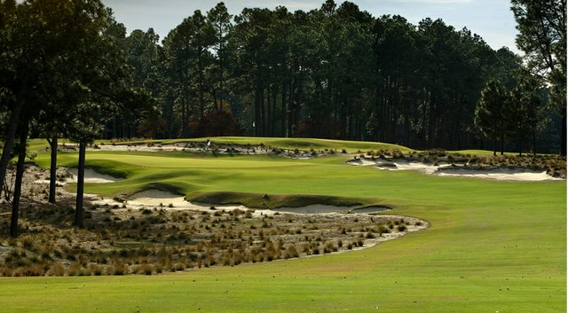 A view of hole No. 5 from a little less than 300 yards out on Pinehurst's No. 2 course, host of the U.S. Open and U.S. Women's Open in 2014.