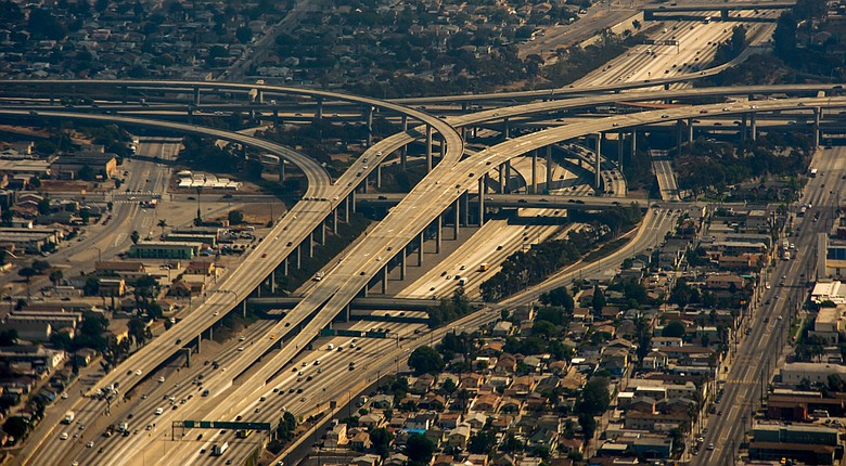 An aerial view of Interstate Highway 405 in Los Angeles.