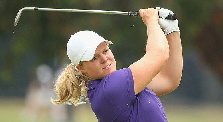 Caroline Hedwall plays an approach shot on the ninth hole during the second round of the Women's Australian Open.